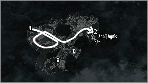 Markings on the map: 1 - Start place; 2 -Agnis quarters - Side Contract: Kill Agnis - The Dark Brotherhood quests - The Elder Scrolls V: Skyrim Game Guide