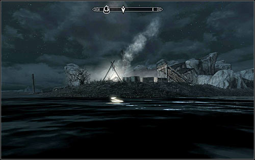 Deekus has set his camp on a small island near the shipwreck (screen above), which means that you have to swim there - Side Contract: Kill Deekus - The Dark Brotherhood quests - The Elder Scrolls V: Skyrim Game Guide
