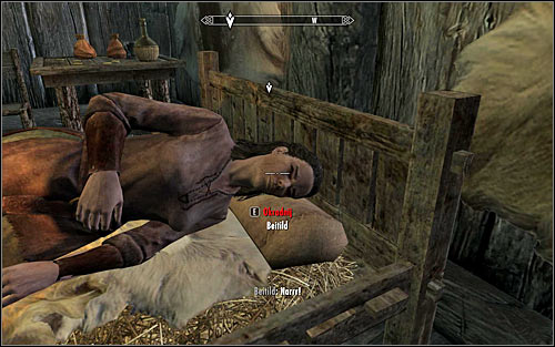 Once you get inside the hut, crouch and start sneaking towards the bed, where Beitild sleeps - Side Contract: Kill Beitild - The Dark Brotherhood quests - The Elder Scrolls V: Skyrim Game Guide