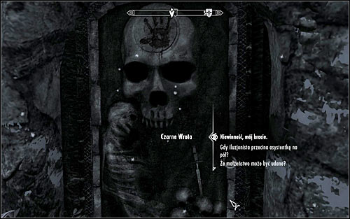 Walk to the Black Door, guarding an entrance to Dawnstar Sanctuary (screen above) and after you hear the voice, say a password from the Ciceros journal, which is Innocence, my Brother (first dialog option) - The Cure for Madness - p. 1 - The Dark Brotherhood quests - The Elder Scrolls V: Skyrim Game Guide