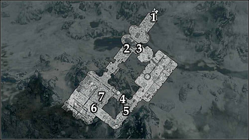 Markings on the map: 1 - Ruins entrance; 2 - Shorter way; 3 - Longer way; 4 - Corridor leading to Alains hideout; 5 - Closed gate; 6 - Ballista; 7 - Alain Dufont - Mourning Never Comes - p. 1 - The Dark Brotherhood quests - The Elder Scrolls V: Skyrim Game Guide