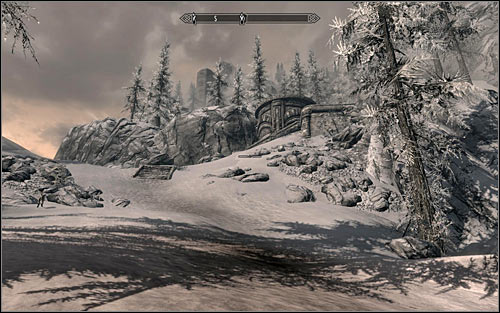 An entrance to the ruins is located high in the mountains and it is best to reach it from the north - Mourning Never Comes - p. 1 - The Dark Brotherhood quests - The Elder Scrolls V: Skyrim Game Guide