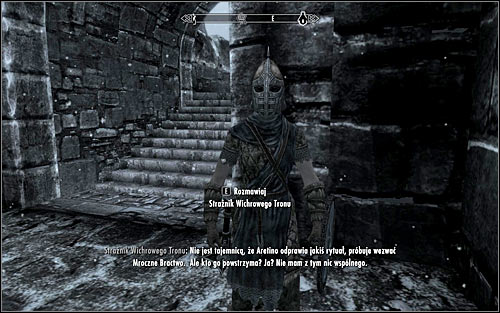 Another easy method to find out about this quest is to go to the Windhelm and find any of Windhelm Guards, who would tell you a similar rumor (screen above) - Innocence Lost - The Dark Brotherhood quests - The Elder Scrolls V: Skyrim Game Guide