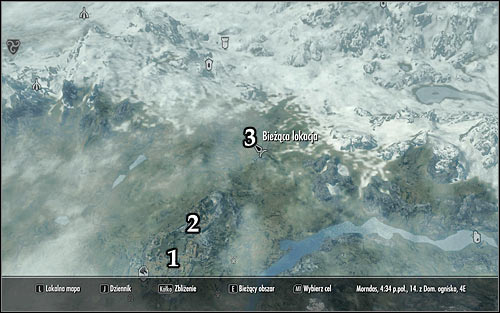 Markings on the map: 1 - Whiterun; 2 - Dragonsreach; 3 - Meeting point with Cicero - Delayed Burial - The Dark Brotherhood quests - The Elder Scrolls V: Skyrim Game Guide