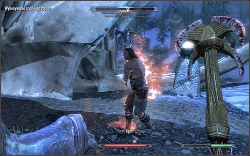 As for the choice of Shouts used in this battle, the most reasonable from the standard ones would be Fire Breath (screen above), especially that the useful in most battles Unrelenting Force wont have any effect on Tsun - Reaching the Hall of Valor | Sovngarde - Sovngarde - The Elder Scrolls V: Skyrim Game Guide