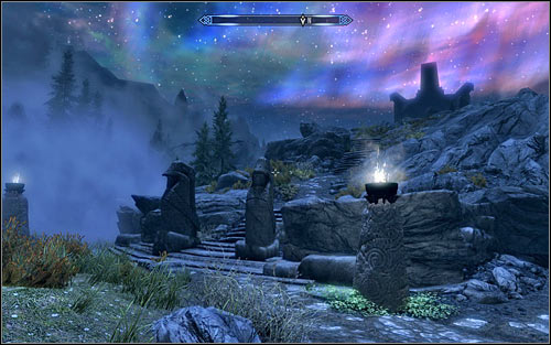 After the conversation continue onwards, still using Clear Skies Shout to dispel the thick mist - Reaching the Hall of Valor | Sovngarde - Sovngarde - The Elder Scrolls V: Skyrim Game Guide
