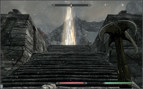 After securing the lower part of the roof, stand opposite to the stairs leading to the upper level (screen above) - Reaching the portal | The World-Eaters Eyrie - The World-Eaters Eyrie - The Elder Scrolls V: Skyrim Game Guide