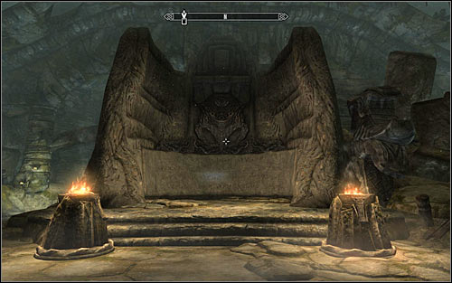 After reaching the next room, look around for a Word Wall (screen above) and approach it to learn the Word of Power - Storm, Storm Call - Reaching the portal | The World-Eaters Eyrie - The World-Eaters Eyrie - The Elder Scrolls V: Skyrim Game Guide