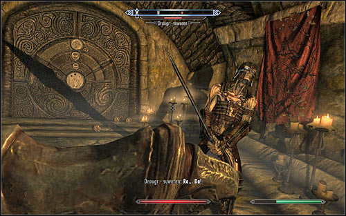 Save your game, as you will have to fight a mini-boss in the form of a Draugr-Overlord (screen above) - Reaching the portal | The World-Eaters Eyrie - The World-Eaters Eyrie - The Elder Scrolls V: Skyrim Game Guide
