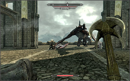 Quickly get away from the observation point, as the dragon should land there soon - Catching the dragon - The Fallen - The Elder Scrolls V: Skyrim - Game Guide and Walkthrough