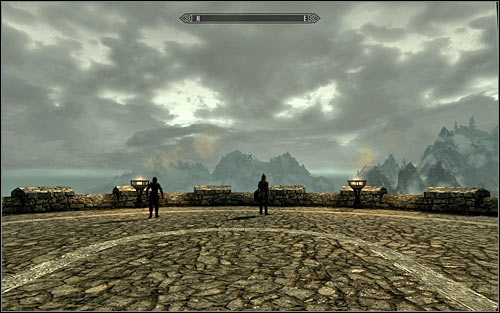 After reaching the porch, head towards observation point on front of you (screen above) - Catching the dragon - The Fallen - The Elder Scrolls V: Skyrim - Game Guide and Walkthrough