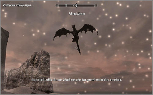 After the cutscene end, you should note that in the meantime, Alduin has reached The Throat of the World (screen above) - Battle with Alduin | Alduins Bane - Alduins Bane - The Elder Scrolls V: Skyrim Game Guide