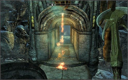 Get to the very top and be careful not to touch and line on your way, as it would activate a pretty nasty trap - Obtaining the Elder Scroll - Elder Knowledge - The Elder Scrolls V: Skyrim - Game Guide and Walkthrough