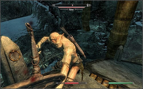 Destroy the Dwarven Spider and head along the ramp onto the lower level - Obtaining the Elder Scroll | Elder Knowledge - Elder Knowledge - The Elder Scrolls V: Skyrim Game Guide