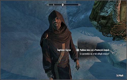 Go forward and after reaching a small cave carefully go down and initiate a conversation with Septimus Signus (screen above) - Finding Septimus Signus - Elder Knowledge - The Elder Scrolls V: Skyrim - Game Guide and Walkthrough