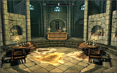Ignore the characters there and head to the north-east gate to the Hall of the Elements - Heading to Winterhold | Elder Knowledge - Elder Knowledge - The Elder Scrolls V: Skyrim Game Guide