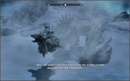 You can now begin the proper conversation with Paarthurnax (screen above) - Meeting Paarthurnax | The Throat of the World - The Throat of the World - The Elder Scrolls V: Skyrim Game Guide