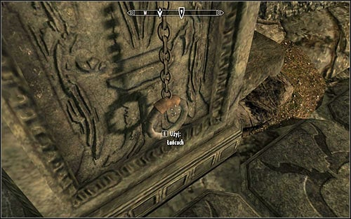 If you have done everything properly, you just need to turn left and interact with the chain hanging there (screen above) - Heading to Alduins Wall | Alduins Wall - Alduins Wall - The Elder Scrolls V: Skyrim Game Guide