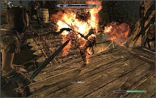 Be careful, as almost immediately after getting inside the cave you will be attacked by a new group Forsworn (screen above) - Heading to Alduins Wall | Alduins Wall - Alduins Wall - The Elder Scrolls V: Skyrim Game Guide