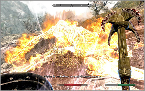 As I have mentioned before, the blood dragon is capable of dealing high fire damage and the additional difficulty here is that dont quite have a place to hide from them - Heading to Alduins Wall | Alduins Wall - Alduins Wall - The Elder Scrolls V: Skyrim Game Guide