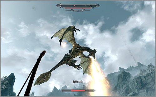 Before heading out, Id recommend maximally raising your fire resistance, as theres a high chance that you will come across a blood dragon on your way to Karthspire (screen above) - Heading to Alduins Wall | Alduins Wall - Alduins Wall - The Elder Scrolls V: Skyrim Game Guide