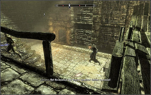 Be careful, as right after getting out of Esberns cell you will get attacked by enemies, who also have been searching for him - Escorting Esbern | Alduins Wall - Alduins Wall - The Elder Scrolls V: Skyrim Game Guide