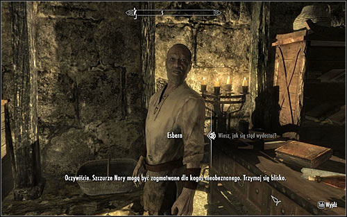 Wait for Esbern to gather his stuff and use this occasion to take a look around the cell yourself, finding a couple valuable items - Escorting Esbern | Alduins Wall - Alduins Wall - The Elder Scrolls V: Skyrim Game Guide