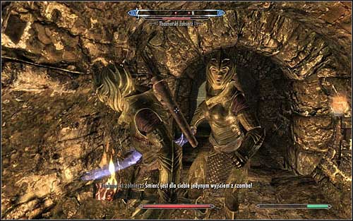 You will encounter the first group of enemies almost right after entering the Flagon - Finding Esbern - A Cornered Rat - The Elder Scrolls V: Skyrim - Game Guide and Walkthrough