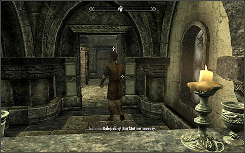 Regardless of how you drawn the guests attention away, dont wait for a given scene to end but quickly return to the bar and use the door opened by Malborn (screen above) - Collecting information on the return of dragons | Diplomatic Immunity - Diplomatic Immunity - The Elder Scrolls V: Skyrim Game Guide