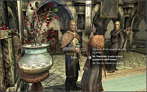 The second option implies initiating a conversation with Erikur - Collecting information on the return of dragons | Diplomatic Immunity - Diplomatic Immunity - The Elder Scrolls V: Skyrim Game Guide