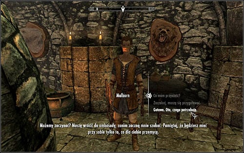 Malborn will confirm that he can smuggle a given amount of equipment inside the embassy and will suggest that it should be items that will let you efficiently and silently deal will enemies - Getting onto the Embassy party | Diplomatic Immunity - Diplomatic Immunity - The Elder Scrolls V: Skyrim Game Guide