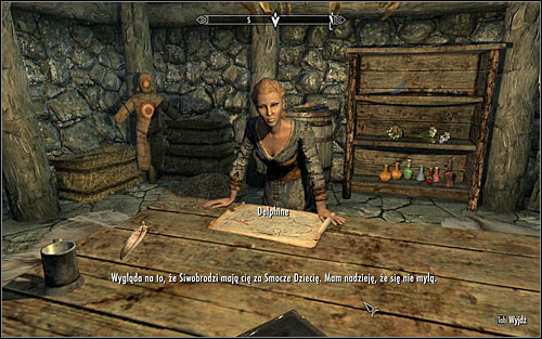 Approach the table beside which Delphine is sitting and initiate a conversation with her (screen above) - Meeting with Delphine | A Blade in the Dark - A Blade in the Dark - The Elder Scrolls V: Skyrim Game Guide