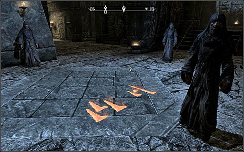 Follow Arngeir and after reaching the main room of the monastery, wait for a sign to appear on the floor (screen above) - Retrieving the Horn and giving it to the Greybeards | The Horn of Jurgen Windcaller - The Horn of Jurgen Windcaller - The Elder Scrolls V: Skyrim Game Guide