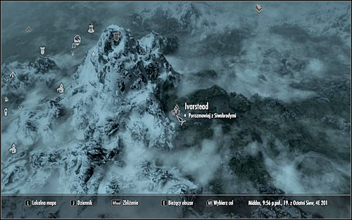 Open the world map to learn that the High Hrothgar is located south-east of Whiterun - Heading to the Greybeards - The Way of the Voice - The Elder Scrolls V: Skyrim - Game Guide and Walkthrough