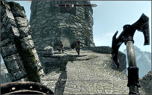 Approach the entrance to the partially destroyed tower (screen above) - Fighting the Dragon | Dragon Rising - Dragon Rising - The Elder Scrolls V: Skyrim Game Guide