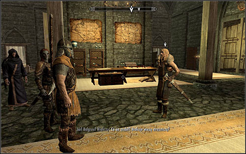 Follow Irileth, choosing the stairs leading to where Jarl Balgruuf is (screen above) - Meeting with the Jarl | Dragon Rising - Dragon Rising - The Elder Scrolls V: Skyrim Game Guide