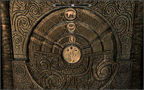 The idea here is interacting with the three circles and the key to solving it is understanding the hint found in Arvel's Journal which can be read from the inventory - Heading to Bleak Falls Barrow - Bleak Falls Barrow - The Elder Scrolls V: Skyrim - Game Guide and Walkthrough