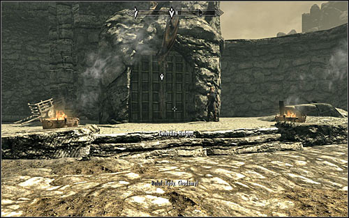 If you want to run from the keep with Ralof, you need to approach the Helgen Keep entrance on the right, beside which hes standing (screen above) - Running away from the Dragon | Unbound - Unbound - The Elder Scrolls V: Skyrim Game Guide