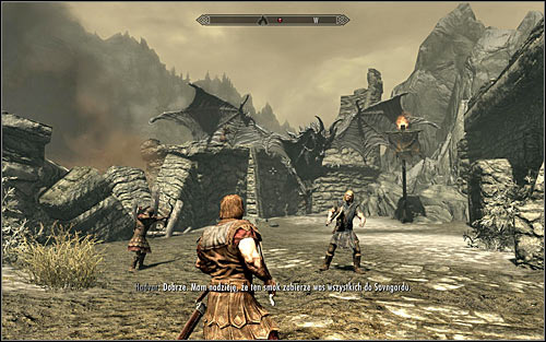 Now, for a change, you will have to follow Hadvar, the man that you already had the chance to talk with - Running away from the Dragon | Unbound - Unbound - The Elder Scrolls V: Skyrim Game Guide