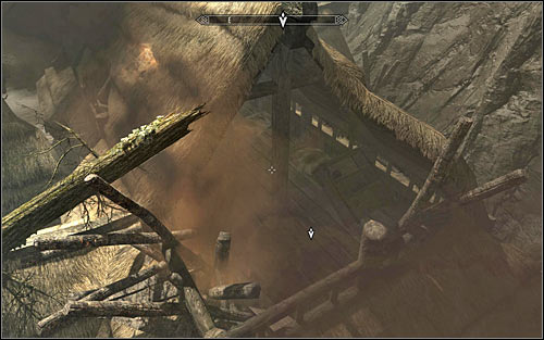 Approach the big hole in the wall and following Ralofs instruction, jump to land inside the partially destroyed tavern below (screen above) - Running away from the Dragon | Unbound - Unbound - The Elder Scrolls V: Skyrim Game Guide