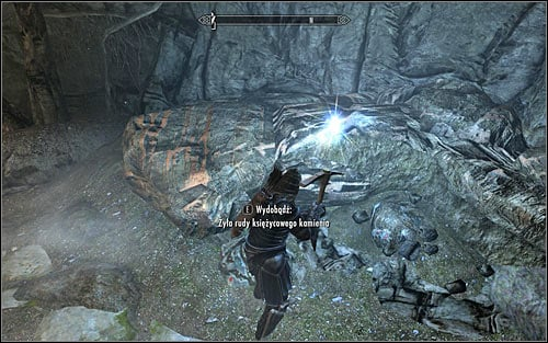 Once you have at least one pickaxe and youve chosen it as an active weapon you can proceed with the mining and this is achieved by interacting with an ore vein (screen above) thats not used at the moment by anyone else - Mining and smelting | Crafting - Crafting - The Elder Scrolls V: Skyrim Game Guide