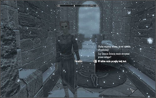 As you try to cross the bridge, you will be stopped by Faralda, who will tell you that only authorized people can enter the College - First Lessons - College of Winterhold quests - The Elder Scrolls V: Skyrim Game Guide