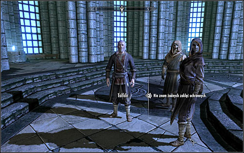 Tolfdir will soon inform the gathered students that the first test will concern using protective spells - First Lessons - College of Winterhold quests - The Elder Scrolls V: Skyrim Game Guide