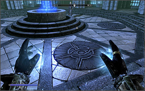 Tolfdir will want you to cast the spell, so start off by choosing it from the list as setting as active (you can assign it to any hand) - First Lessons - College of Winterhold quests - The Elder Scrolls V: Skyrim Game Guide