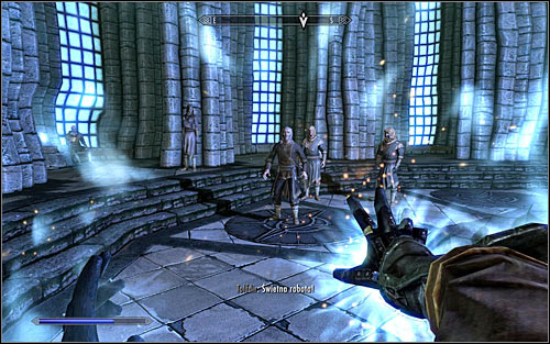 Turn around towards Tolfdir and hold down the mouse button to which you assigned the spell - First Lessons - College of Winterhold quests - The Elder Scrolls V: Skyrim Game Guide