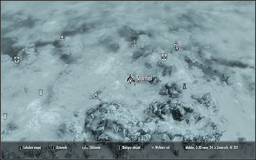Leave the College of Winterhold and open the world map to establish that the Saarthal ruins, in which the mages organized the excavations is located in the mountains south-west from here (screen above) - Under Saarthal - p. 1 - College of Winterhold quests - The Elder Scrolls V: Skyrim - Game Guide and Walkthrough