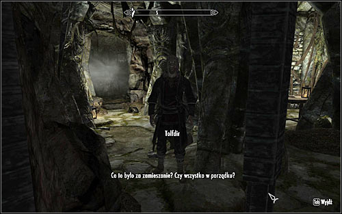Approach the blocked passage and listen out to what Tolfdir, who should approach you automatically, has to say (screen above) - Under Saarthal - p. 1 - College of Winterhold quests - The Elder Scrolls V: Skyrim Game Guide