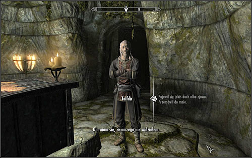 Tolfdir should approach you and start the conversation himself, though his first question will be quite general as he hasn't witnessed any vision himself - Under Saarthal - p. 1 - College of Winterhold quests - The Elder Scrolls V: Skyrim - Game Guide and Walkthrough
