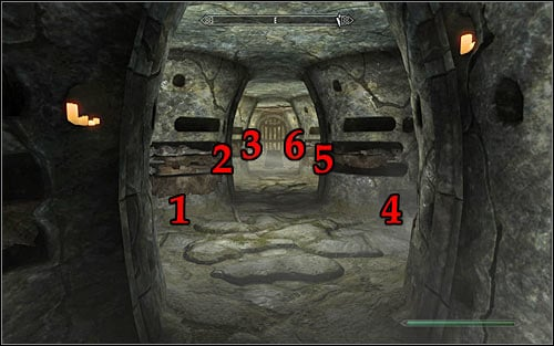 The puzzle will require you to interact with six pillars - Under Saarthal - p. 2 - College of Winterhold quests - The Elder Scrolls V: Skyrim Game Guide