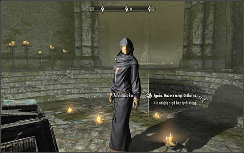 If you intend to betray Orthorn and exchange him for the books, you need to approach The Caller and inform her of your intentions (screen above) - Hitting the Books - p. 2 - College of Winterhold quests - The Elder Scrolls V: Skyrim Game Guide